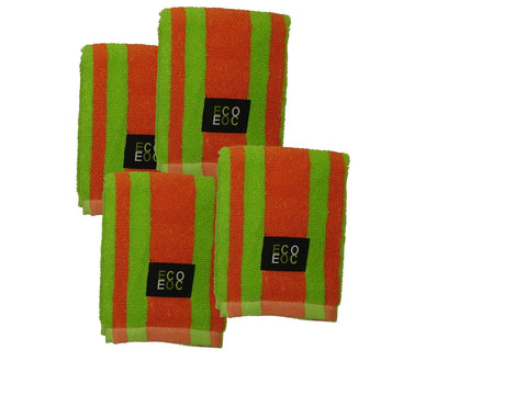 Eurow 12 x 12 in. 100% Cotton Rugby Stripe Lime Green & Mandarin Orange Dish Towels – 4-pack