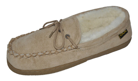 Eurow Women's Hard Sole Sheepskin Moccasin Slippers – Chestnut/White