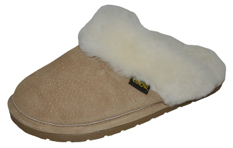 Eurow Women's Hard Sole Sheepskin Scuff Slippers – Sand/White