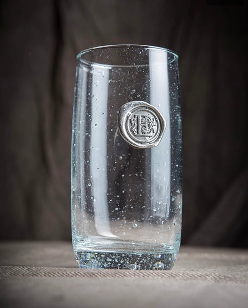 Iced Tea Pewter Initial Glass