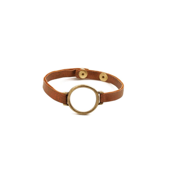 Leather Bracelet With Metal Circle