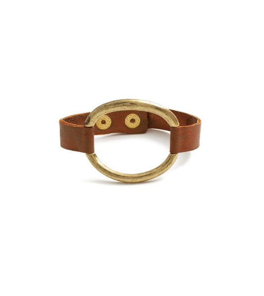 Leather Bracelet With Metal Oval