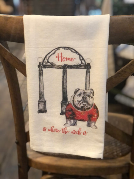 Bulldog With Arches Tea Towel