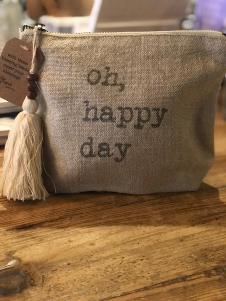 Oh, Happy Day Linen Cosmetic Bag