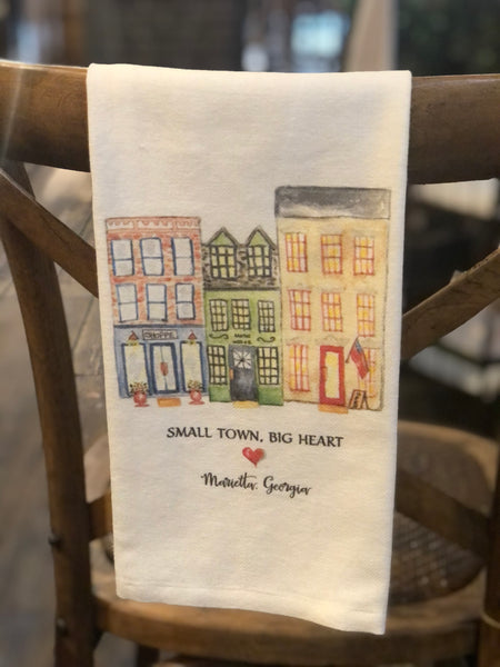 Small Town, Big Heart Tea Towel