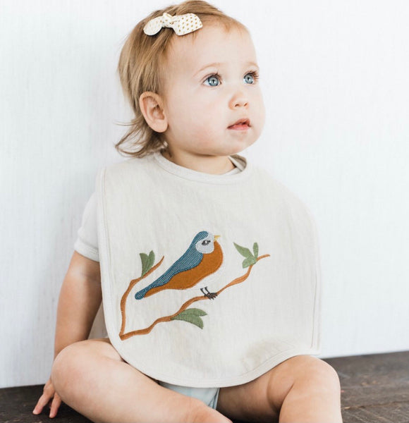 Applique Organic Linen Bib (4 to Choose From)