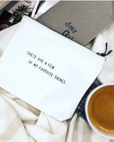 White Canvas Zipper Pouch (3 Quotes to Choose From)