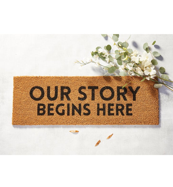 Our Story Begins Here Door Mat