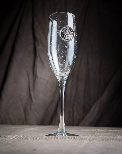Champagne Flute Pewter Initial Glass
