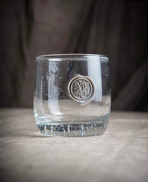 Double Old Fashion Pewter Initial Glass