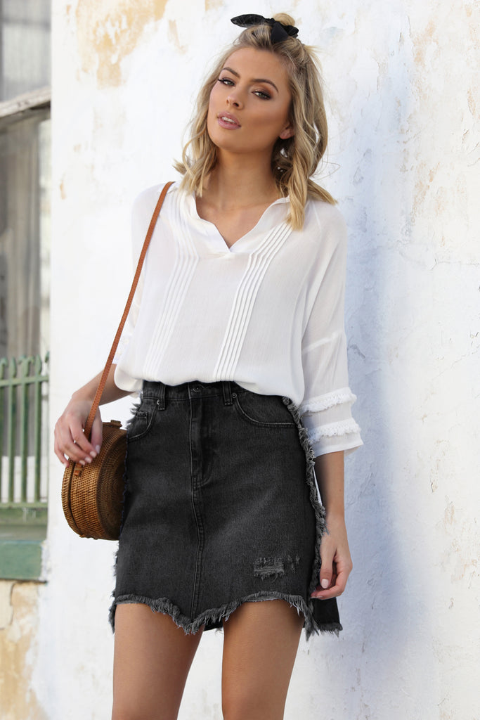 California Denim Skirt / Black