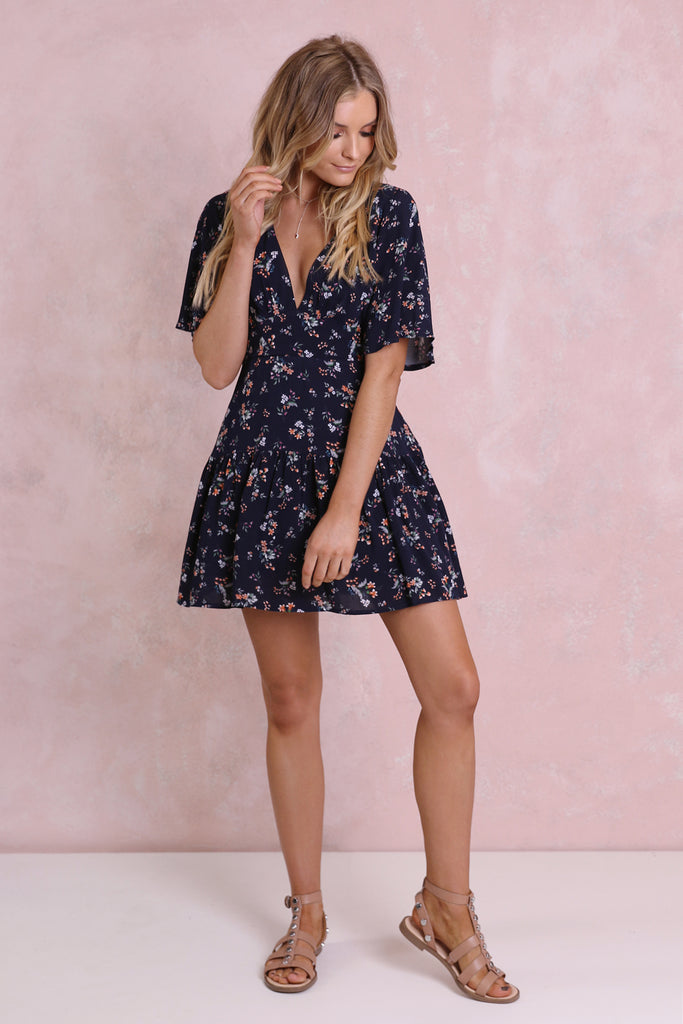 Zahara Floral Dress / Navy