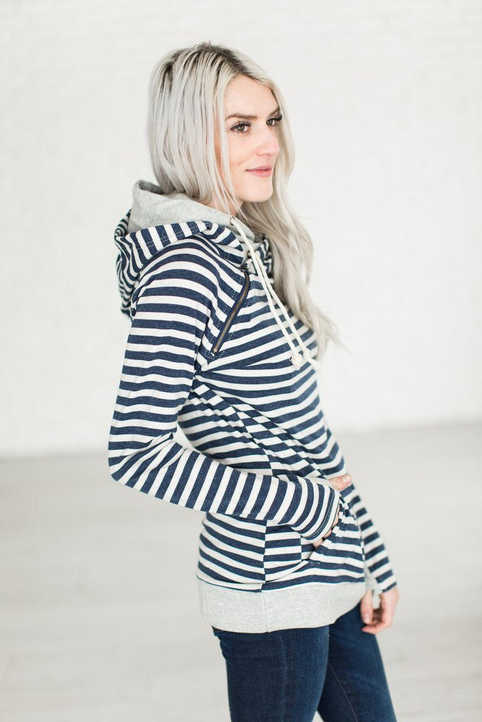 In The Hood Hoodie - Navy Stripe