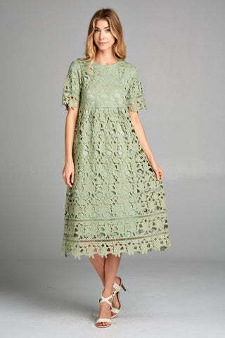 Afghan Lace Dress - Blush