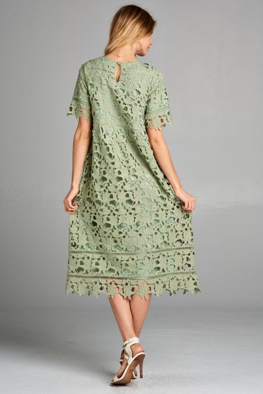 Afghan Lace Dress - Sage