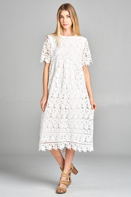 Afghan Lace Dress - Ivory