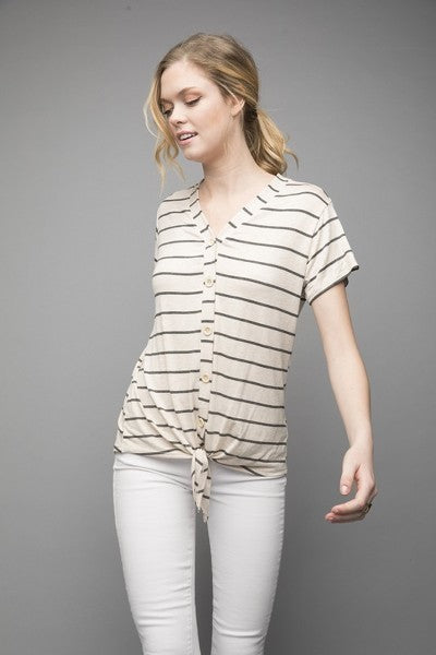 Addison Tie Top - Oatmeal