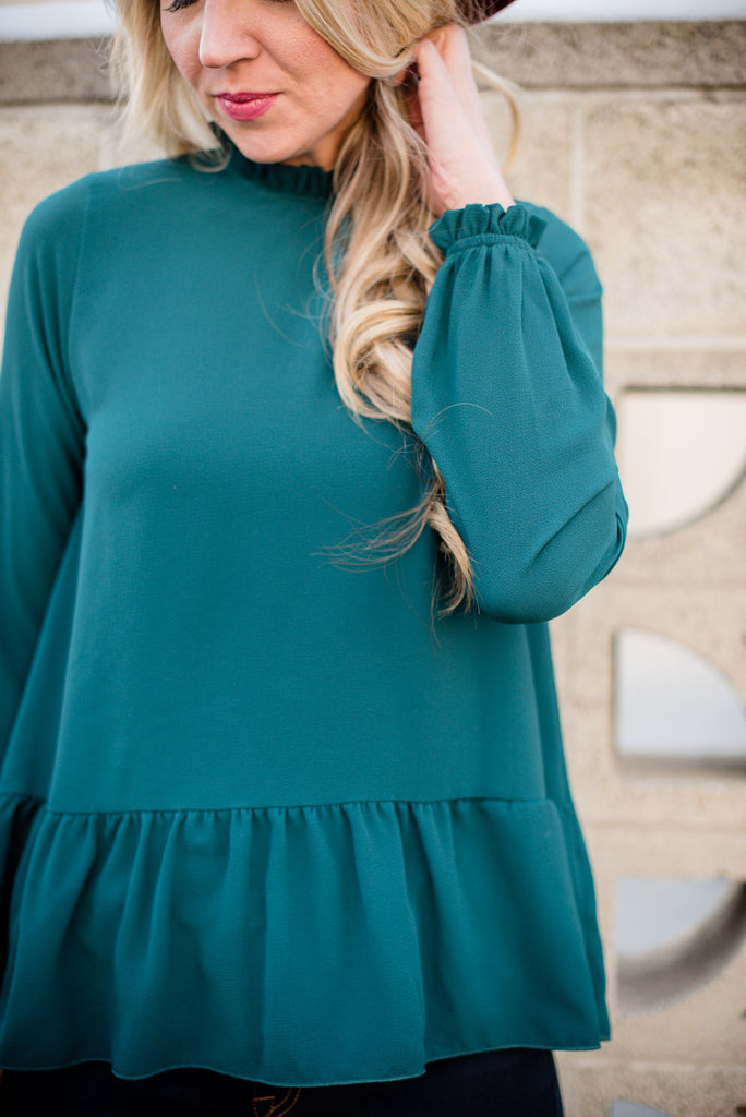 Ruffled Peplum - Emerald