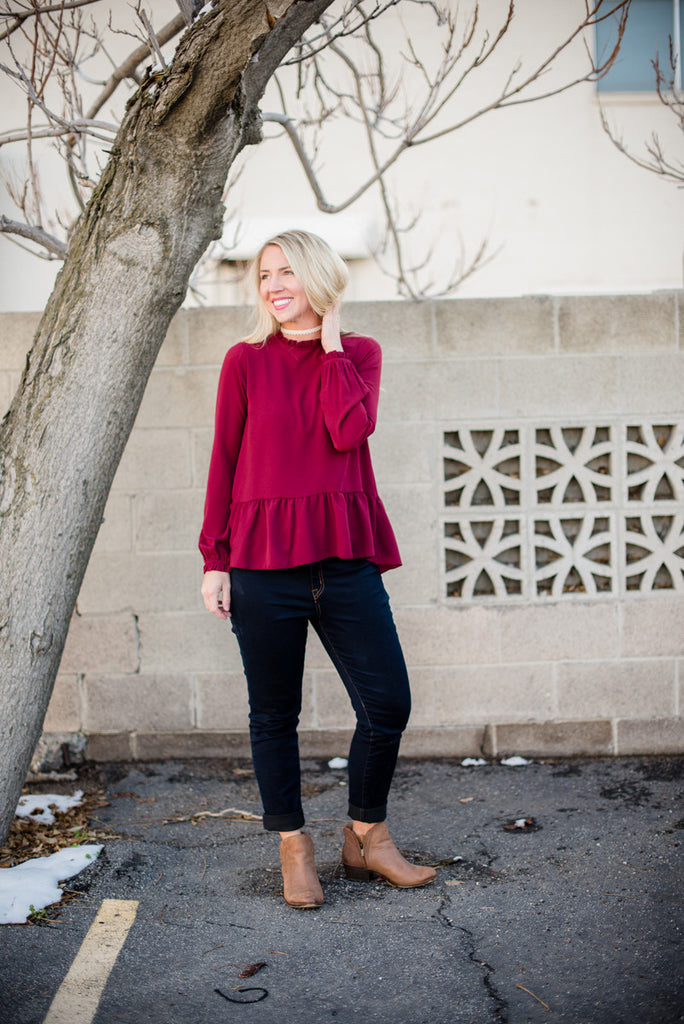 Ruffled Peplum - Wine