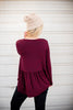 Winter Striped Peplum - Wine