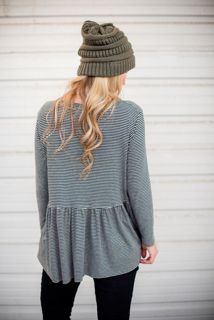 Winter Striped Peplum - Navy