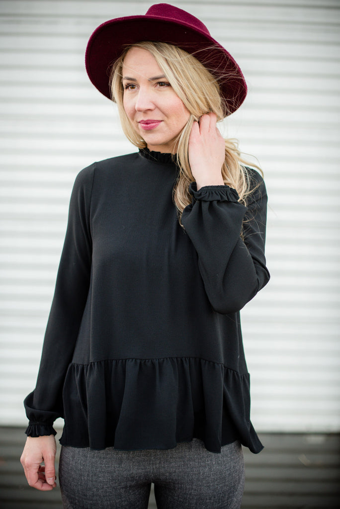 Ruffled Peplum - Black