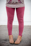 Moto Jeggings - Burgundy