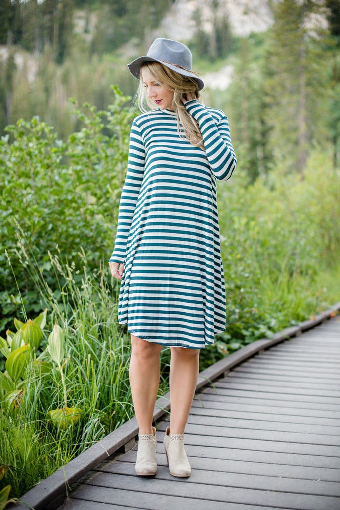 Stripe T-shirt Dress - Hunter Green