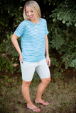 Basic Striped Pocket Tee - Aqua