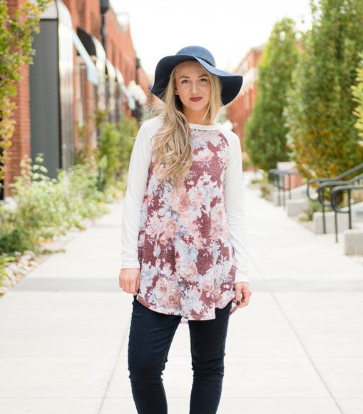 Flower Patch Baseball Tunic - Burgundy