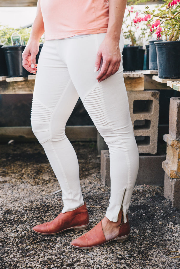 Moto Jeggings - Off-White