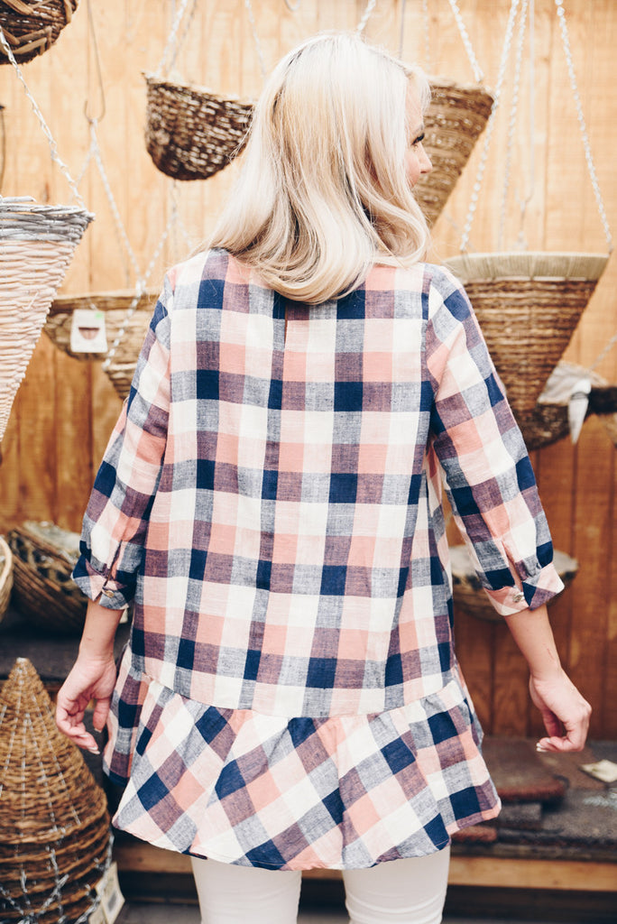 Checked Peplum - Rose