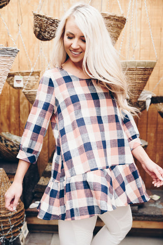 Plaid Cuffed Sleeve Blouse