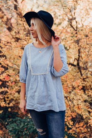 Crochet Blouse - Sky Blue