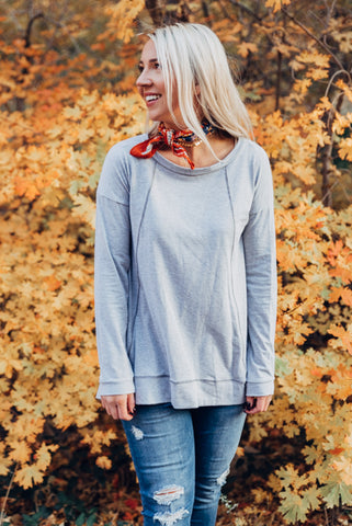 Cuffed Sleeve Basic Tunic - Grey
