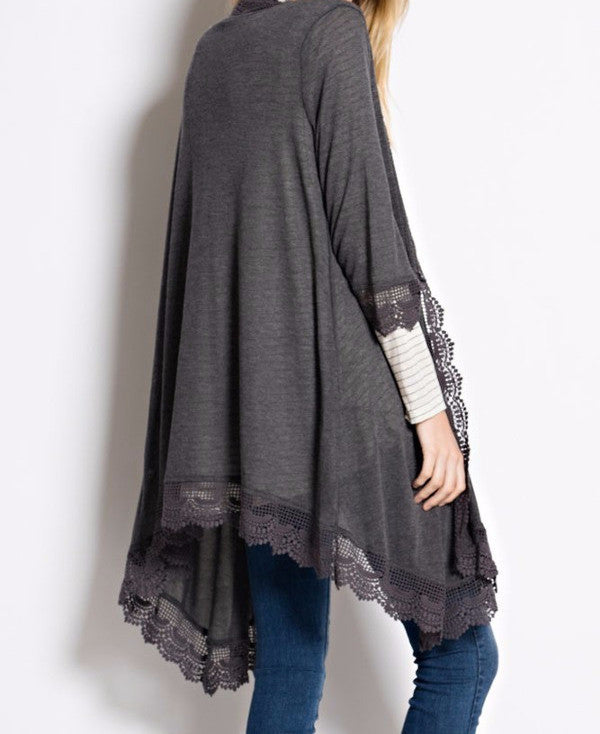 Crochet Lace Duster - Stone Blue