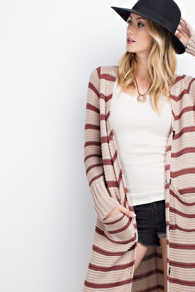 The December Duster - Marsala+Oatmeal
