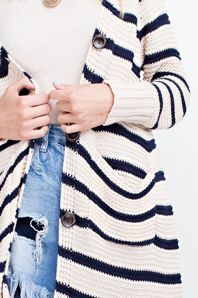 The December Duster - Navy+Ivory