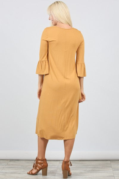 Gypsy Bell Dress - Golden Mustard