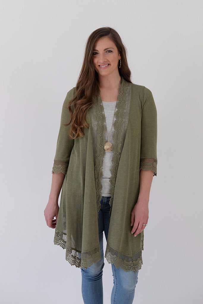 Crochet Lace Duster - Olive