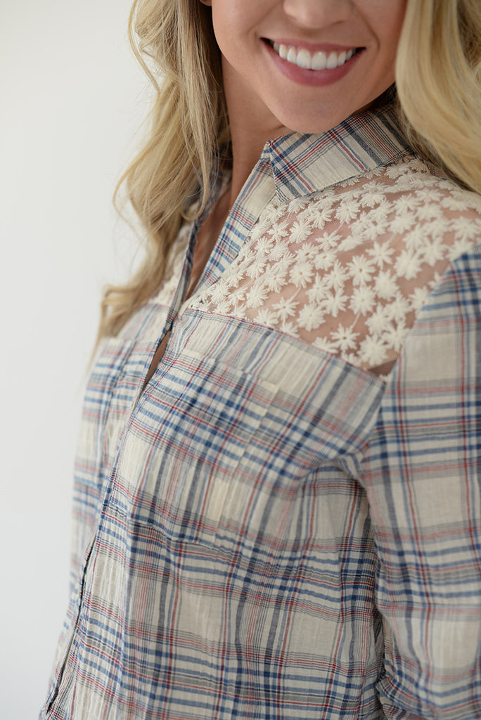 Hi-Lo Lace Plaid Peplum