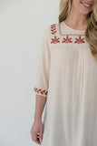 Embroidered Boho Blouse - Cream
