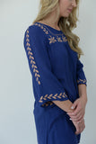 Embroidered Boho Blouse - Blue