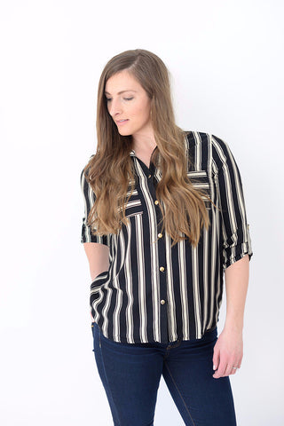 Basic Striped Pocket Tee - Black