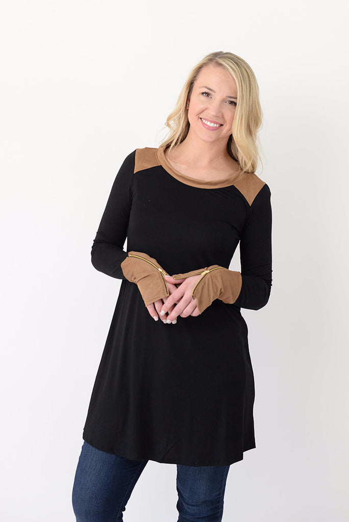 Colorblock Zipper Tunic - Black