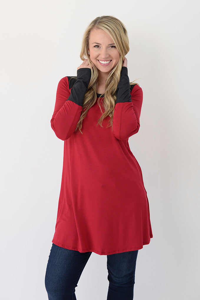 Colorblock Zipper Tunic - Cherry