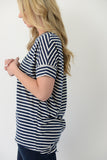 Basic Striped Pocket Tee - Navy