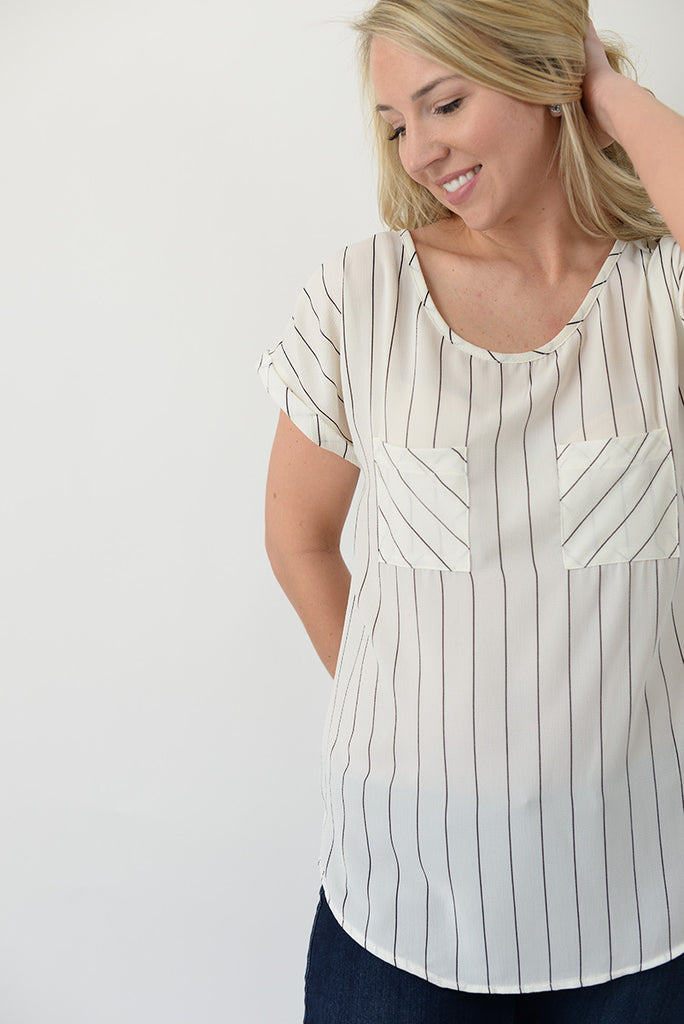Pin Stripe Pocket Blouse - White