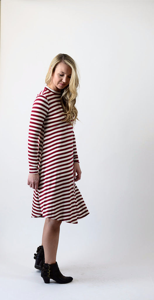 Stripe T-shirt Dress - Burgundy