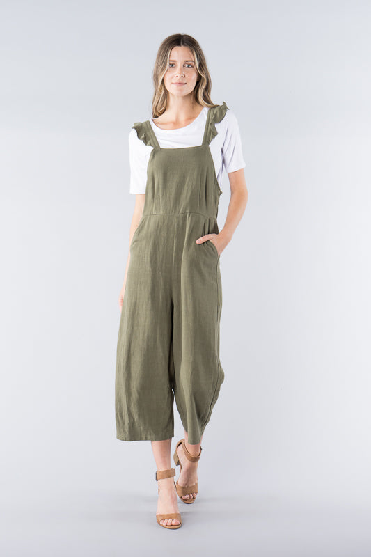 Ruffled Jumpsuit - Olive